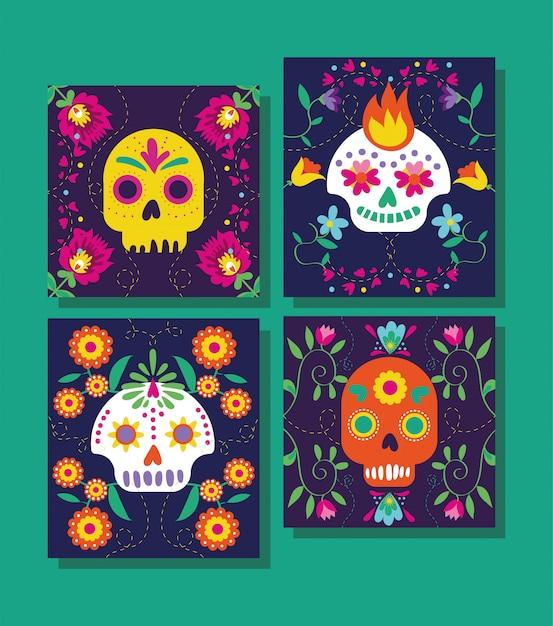 Dia de muertos-kaarten met schedels en bloemen Gratis Vector
