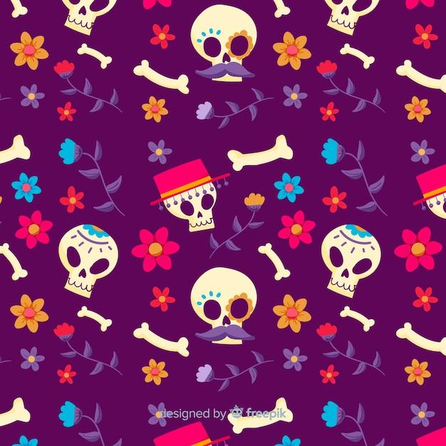 Dia de muertos naadloos patroon in hand getrokken ontwerp Gratis Vector