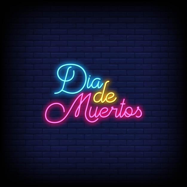 Dia de muertos neon tekens stijl tekst Premium Vector