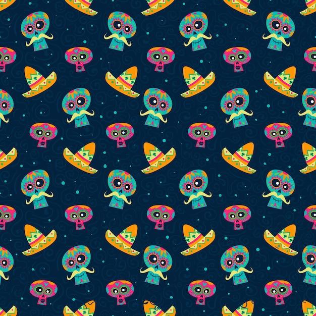 Dia de muertos patroon in plat design Gratis Vector