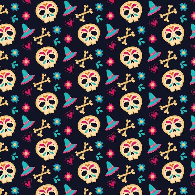 Dia de muertos-patroon in plat ontwerp Gratis Vector