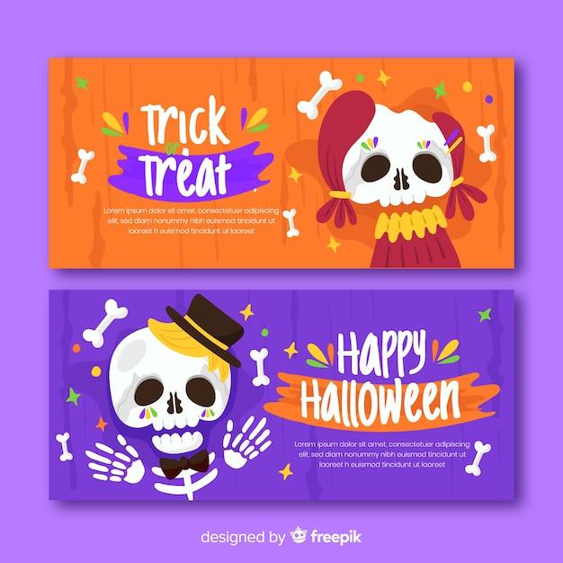 Día de muertos platte halloween banners Gratis Vector