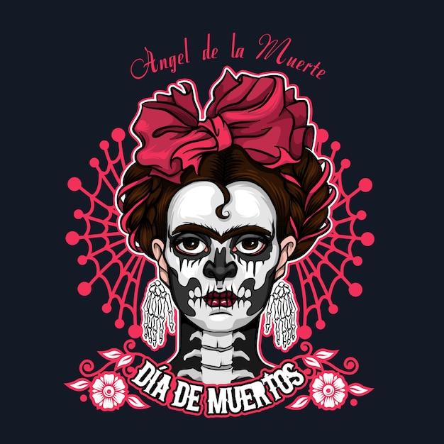 Dia de muertos santa muerte halloween-illustratie Premium Vector