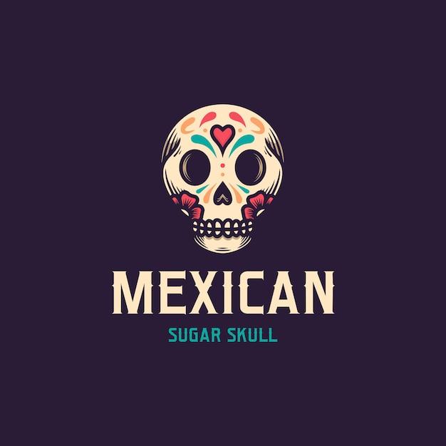 Dia de muertos skull-logo Premium Vector
