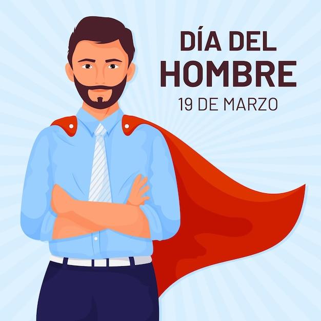 Dia del hombre illustratie in plat ontwerp Premium Vector