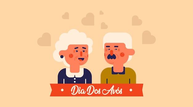 Dia dos avós illustratie vector. vlakke afbeelding van de dag van de gelukkige grootouders Premium Vector