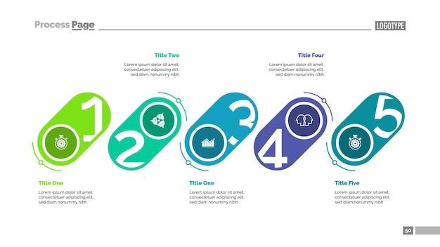 Dia-sjabloon met vijf fasen Premium Vector
