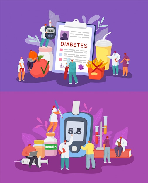 Diabetes illustratie set, diagnose, controle en controle van de bloedsuikerspiegel, dieet. Premium Vector
