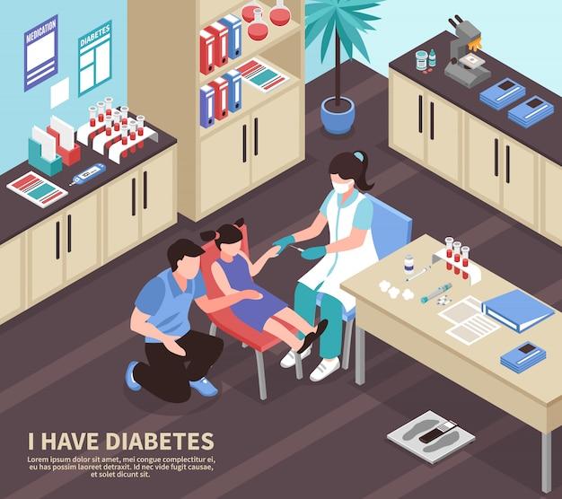 Diabetes ziekenhuis isometrische illustratie Gratis Vector