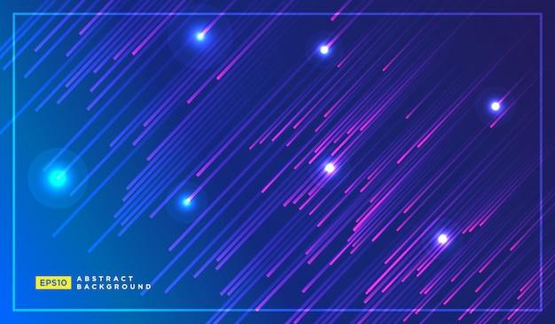 Diagonale strepen lijnen vallen met gloeiend licht Premium Vector