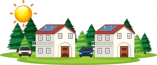 Diagram dat laat zien hoe zonnecellen thuis werken Gratis Vector