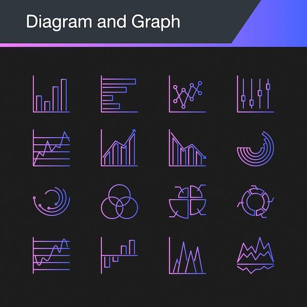 Diagram- en grafiekpictogrammen. Premium Vector