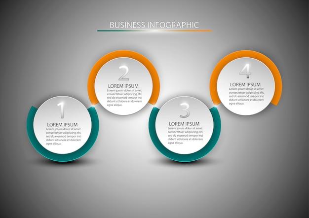 Diagram met 4 stappen, opties, onderdelen of processen. Premium Vector