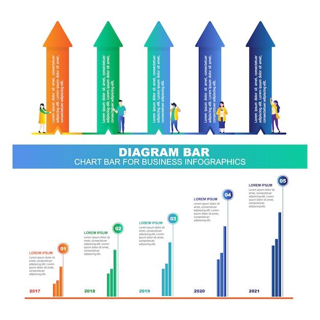 Diagram- of grafiekbalk voor zakelijke infographics Premium Vector