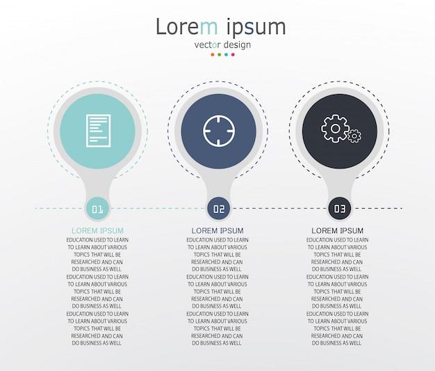 Diagram zakelijke en onderwijs infographic sjabloon Premium Vector