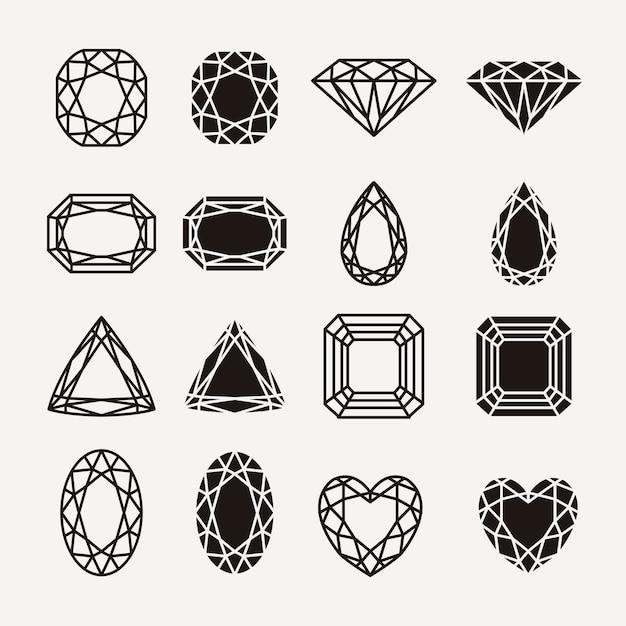 Diamant pictogrammen Gratis Vector