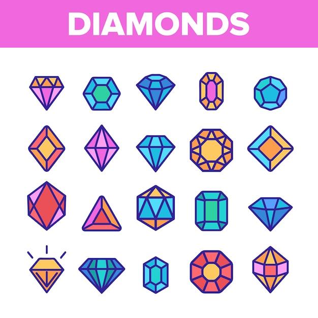 Diamanten, edelstenen Premium Vector