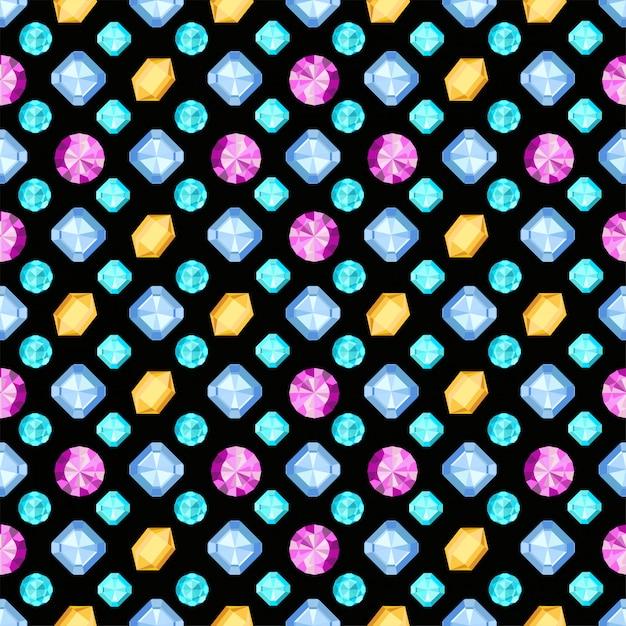 Diamanten of briljanten naadloos patroon. juwelen edelsteen op donkere achtergrond. edelsteen. patroon kan worden gebruikt als inpakpapier, achtergrond, stoffendruk, webpagina-achtergrond, behang Premium Vector