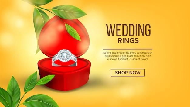 Diamanten trouwring in doos bestemmingspagina Premium Vector