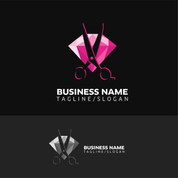 Diamond cutting logo Premium Vector