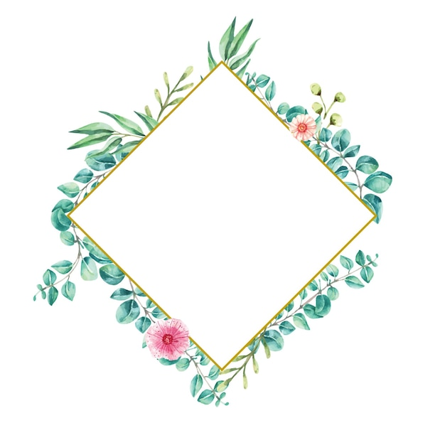 Diamond frame aquarel illustratie blad eucalyptus Premium Vector