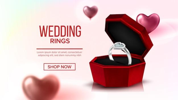 Diamond platinum ring in box-bestemmingspagina Premium Vector