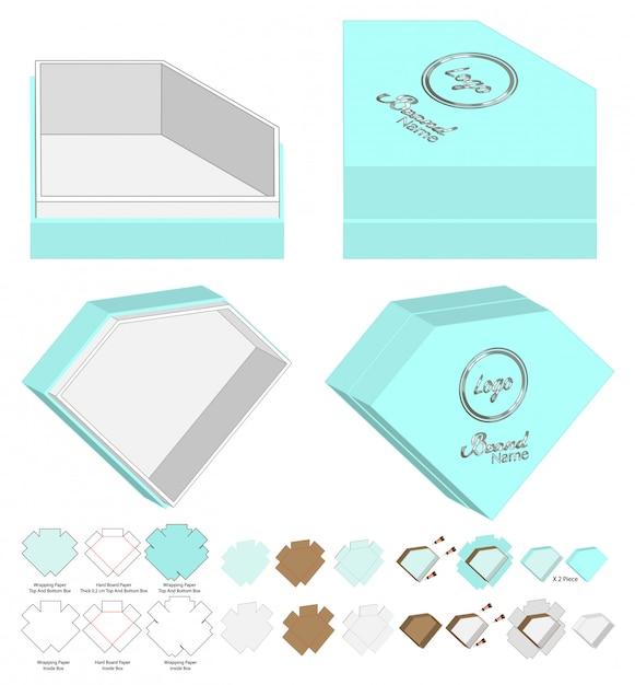Diamond shape box verpakking gestanst sjabloonontwerp Premium Vector