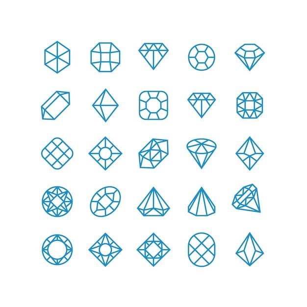 Diamond vector lijn pictogrammen. vrouw briljante juwelenpictogrammen. rijkdom vector symbolen Premium Vector