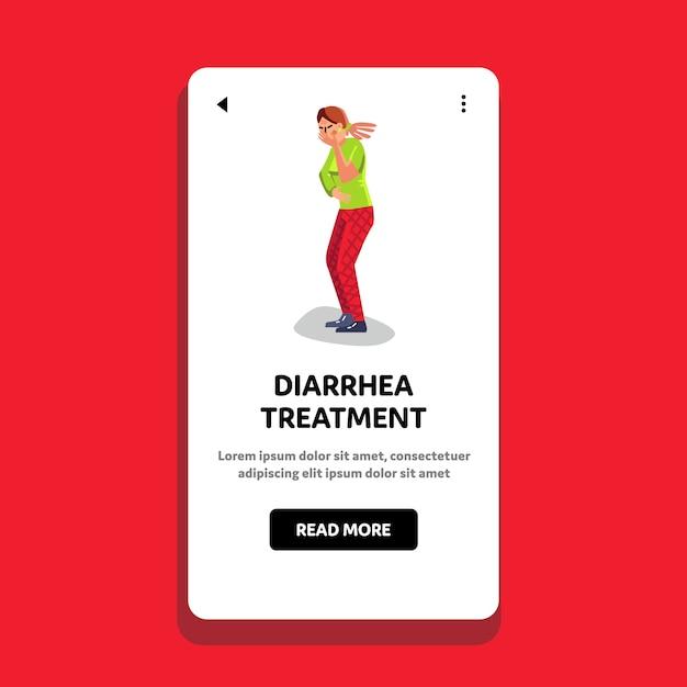 Diarree behandeling en buikpijn meisje Premium Vector