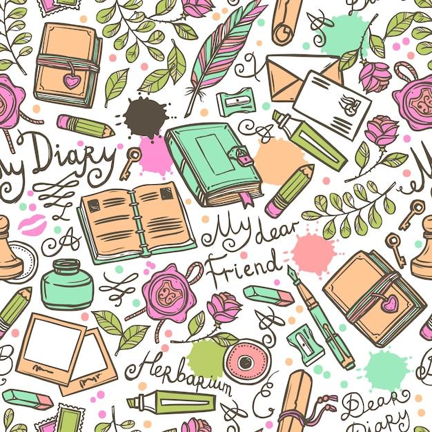 Diary naadloze patroon Gratis Vector