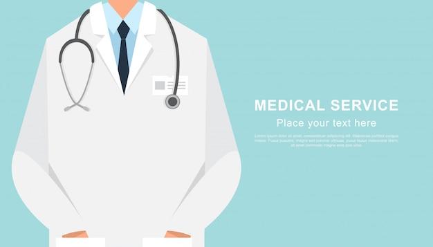 Dichte omhooggaand van de artsenbanner met exemplaarruimte Premium Vector
