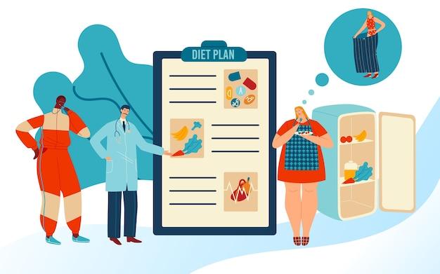 Dieetplan illustratie. Premium Vector