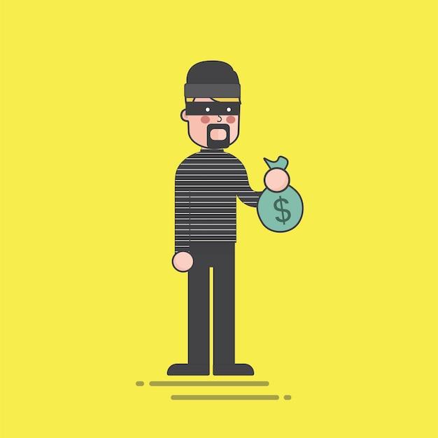 Dief die een illustratie van de geldzak houdt Gratis Vector