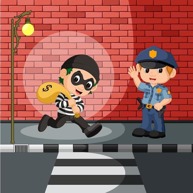 Dief en politie cartoon Premium Vector