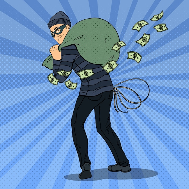 Dief in zwart masker geld stelen Premium Vector