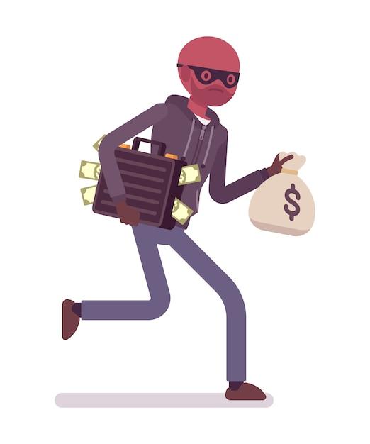 Dief rent weg met gestolen geld Premium Vector