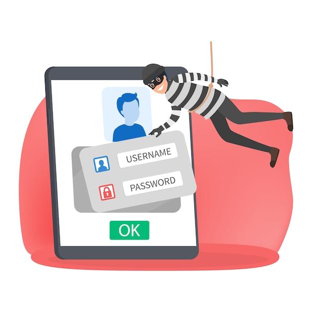 Dief steelt persoonlijke gegevens met wachtwoord Premium Vector