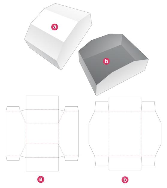 Dienblad met afgeschuind deksel gestanst sjabloon Premium Vector