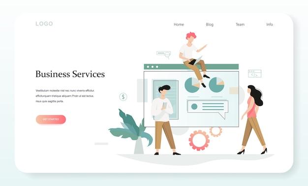 Diensten om uw zakelijke webbanner te laten groeien. idee van beheer en administratie. illustratie in stijl Premium Vector
