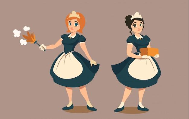 Dienstmeisjes met stofdoek en stapel linnen of handdoek Gratis Vector