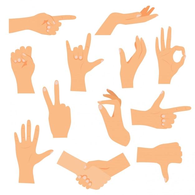 Dient verschillende gebaren in. modern illustratieconcept. Premium Vector