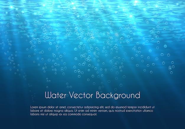 Diepblauwe waterachtergrond met bellen. onderwater zee natuur Gratis Vector