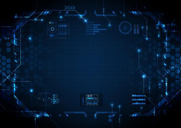 Diepe lichtblauwe futuristische circuit digitale technologie Premium Vector