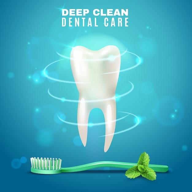 Diepe reiniging tandheelkundige zorg achtergrond poster Gratis Vector