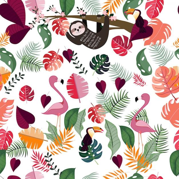 Dier in roze tropische jungle naadloze patroon Premium Vector