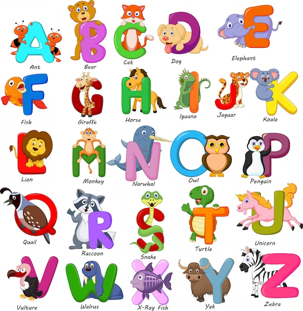 Dieren alfabet set Premium Vector