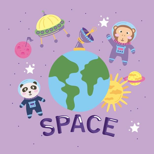 Dieren astronauten ruimte belettering pictogrammen Premium Vector