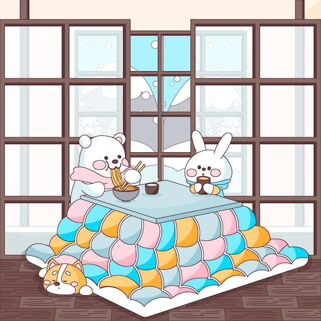 Dieren die eten en rond een kotatsu-tafel zitten Gratis Vector