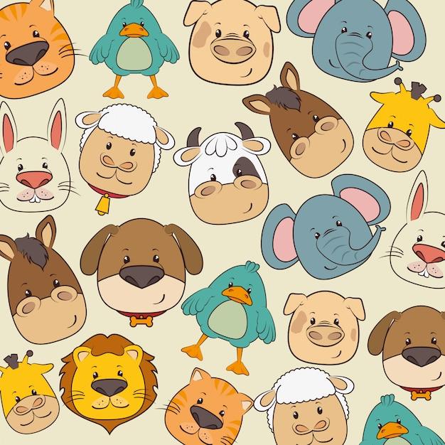 Dieren en dieren cartoons Premium Vector