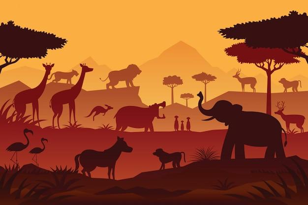Dieren en dieren in het wild zonsopgang of zonsondergang achtergrond, silhouet, natuur, dierentuin en safari Premium Vector